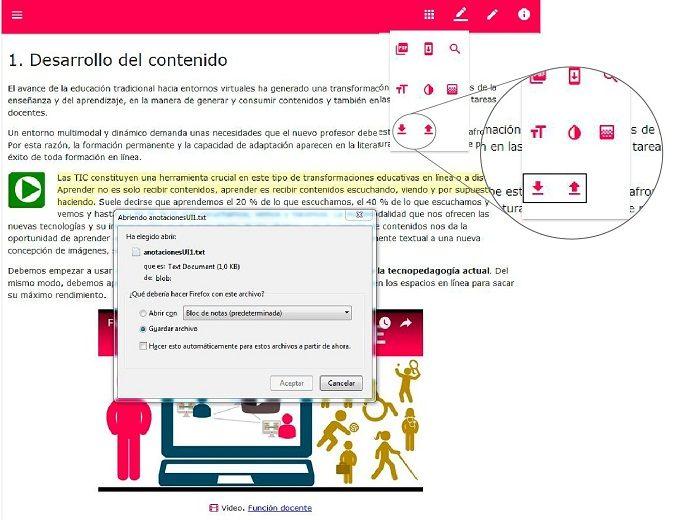 Botones «Exportar anotaciones» e «Importar anotaciones»