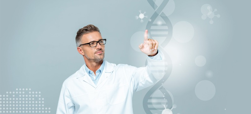 Docente tocando el ADN