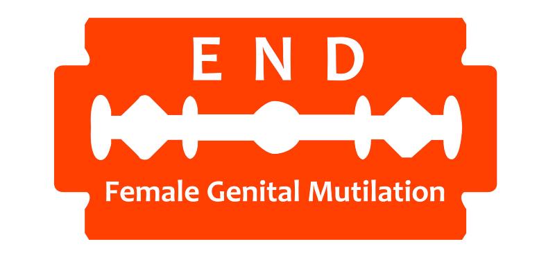 Imagen de una cuchilla roja y sobreimpresionado en inglés fin de la Mutilación Genital Femenina.