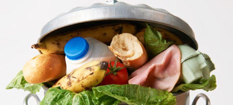 Cubo de basura lleno de alimentos en buen estado