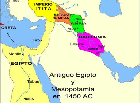 Mapa del Antiguo Egipto y Mesopotamia.