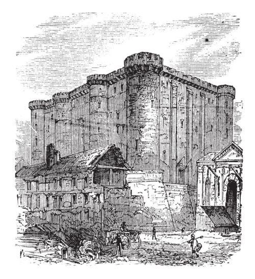 La Bastilla o Bastilla Saint-Antoine de París. Grabado de 1890