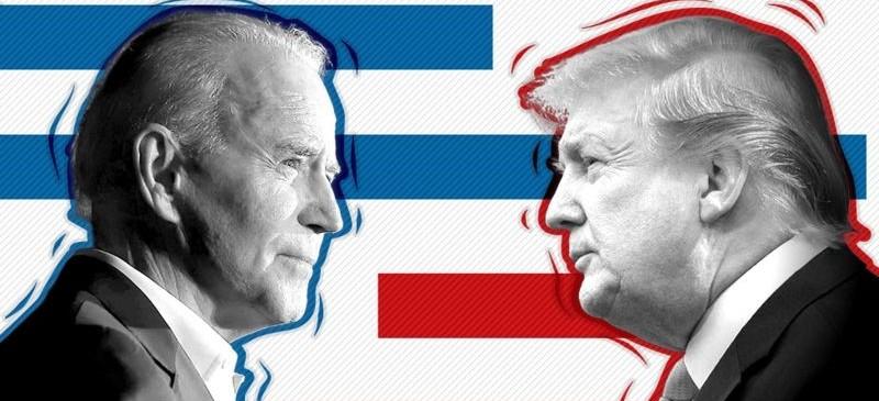 imagen de las caras enfrentadas de Biden y Trump con la bandera americana de fondo