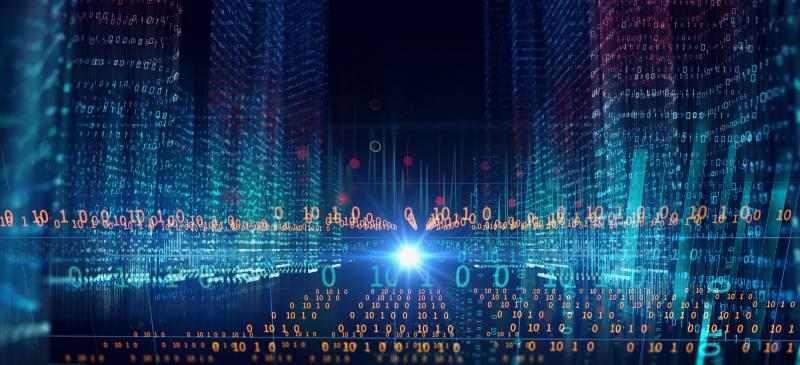 Infografía sobre números big data construyendo una ciudad.