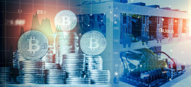 Imagen infográfica de criptomonedas y ordenadores