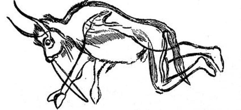 Antropomorfo para portada, dibujo de una cueva de Francia