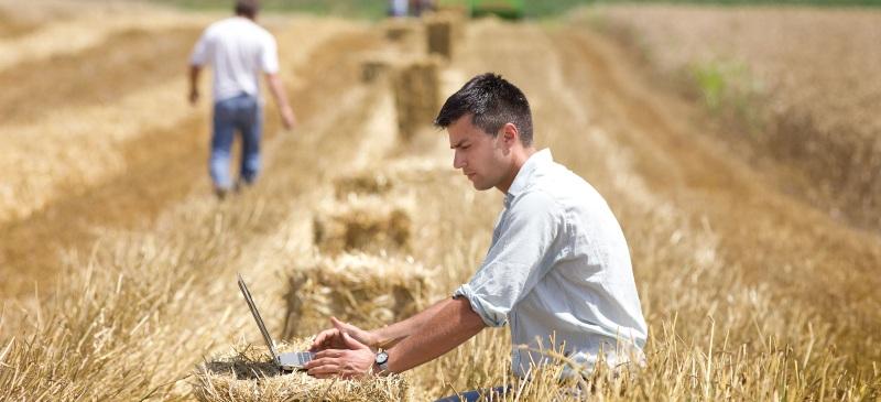 chico en campo con portátil sobre una bala de paja