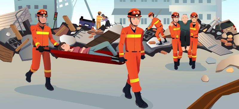 Bomberos en una situación de emergencia recogiendo heridos tras un terremoto