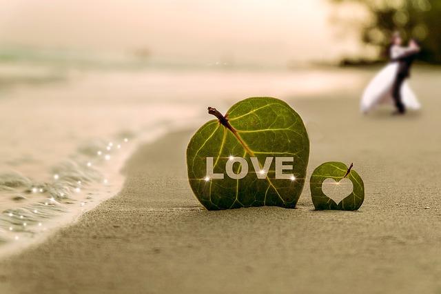 Hoja troquelada LOVE en playa con novios al fondo