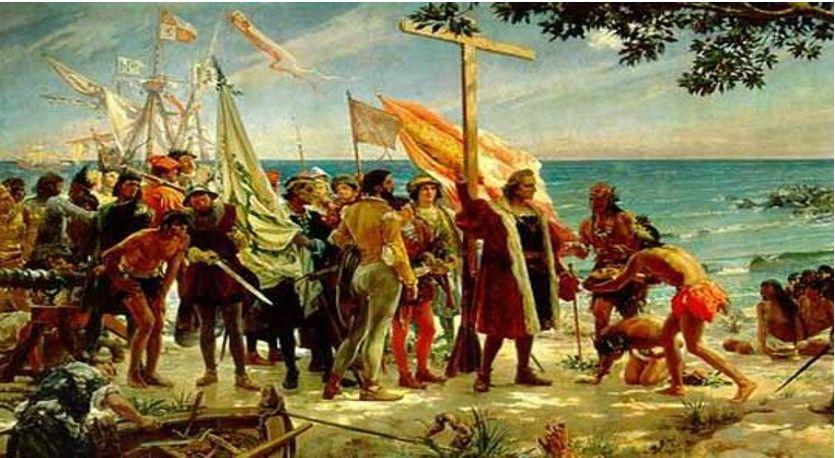 Colón llegando a América