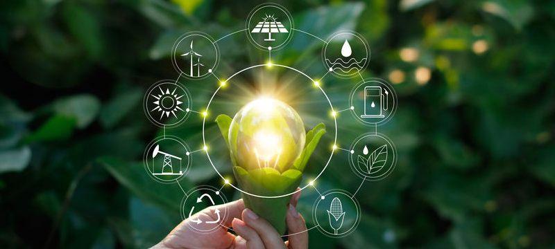 Iconos de energías renovables alrededor de una bombilla.