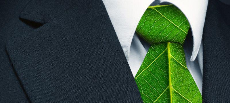 Hoja verde con forma de corbata que representa el trabajo natural en defensa del entorno.