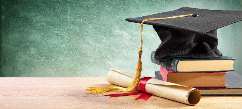 graduado, gorro con diploma