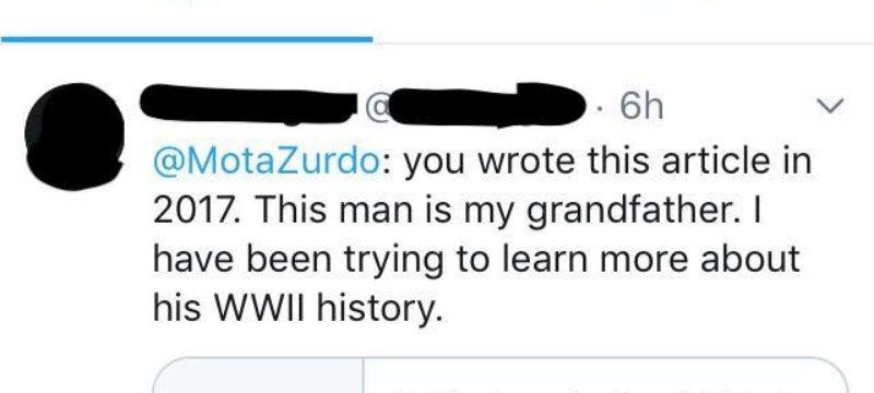 Captura del tuit de la nieta de Jose Laradogoitia Menchaca