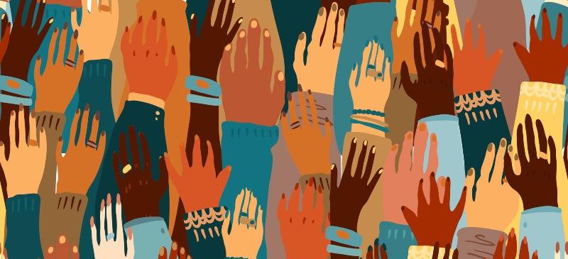 Infografía de manos de diversos colores señalando la diversidad
