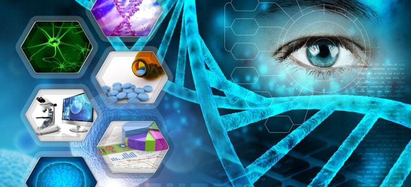 Infografía en la que aparece un ojo y diversos elementos científicos como cadena de ADN, laboratorio, células...
