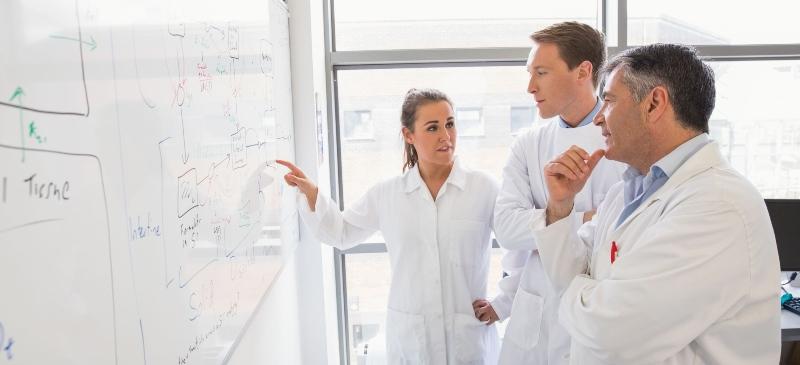 divulgadora científica explicando ciencia a otra persona en la pizarra