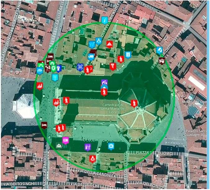 Ejemplo de información en tiempo real a peatones a través de una aplicación