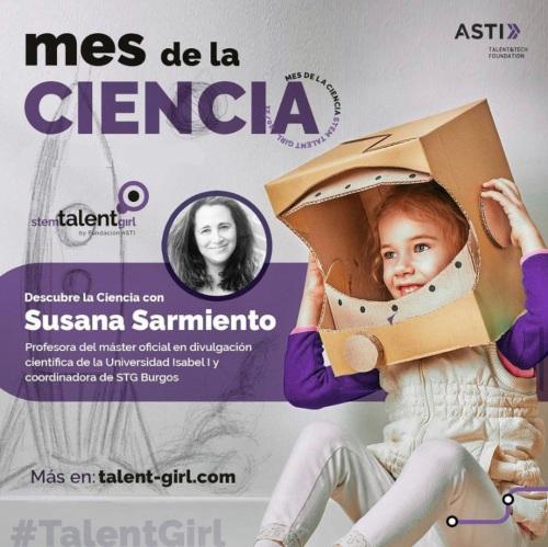 Cartel de Stem Talent Girl en el mes de la ciencia