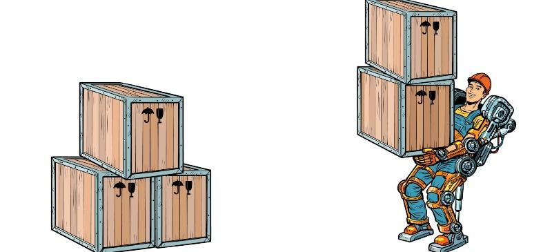 dibujo de un muñeco con un exoesqueleto llevando dos cajas.