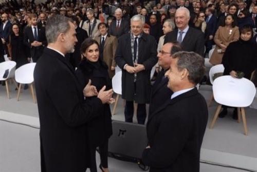 Los reyes de España con Sarkosy y Hollande