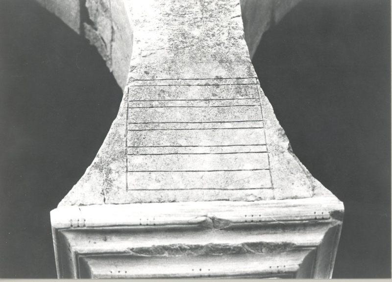 Ordinatio de San Miguel de Escalda. Preparación del campo epigráfico. Autor: V. García Lobo.
