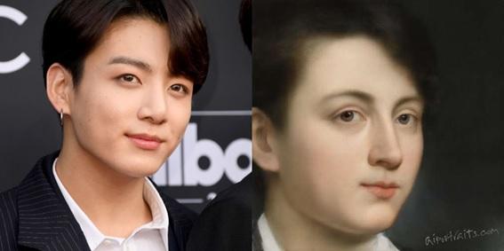 Figura 1. Retrato realizado por AI Portraits de Jungkook, cantante del grupo de pop coreano BTS. Fuente: Mashable
