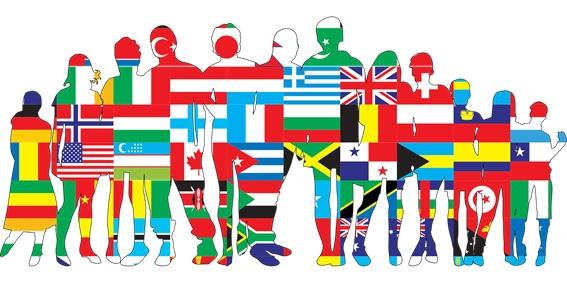 idiomas, infografía de perfiles con banderas