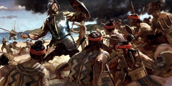 Figura 5. Pintura que recrea de la Batalla de Mactán de 1521. Fuente: cebuwanderlust. com.