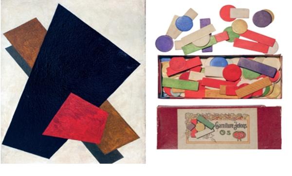 Figura 2 Obra de arte de Liubov Popova y juego de fichas. Fuente: Elcultural.com
