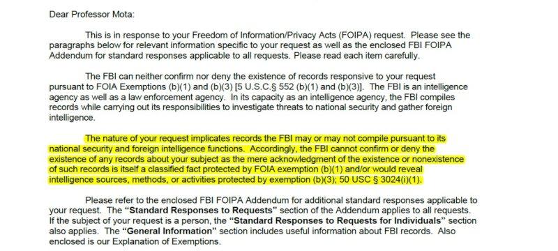 Respuesta del FBI a la solicitud de desclasificacion