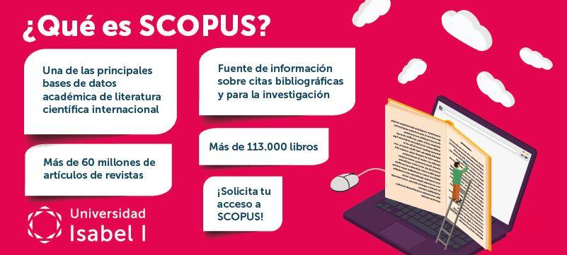 infografía de la base de datos Scopus de la biblioteca de la universidad Isabel I