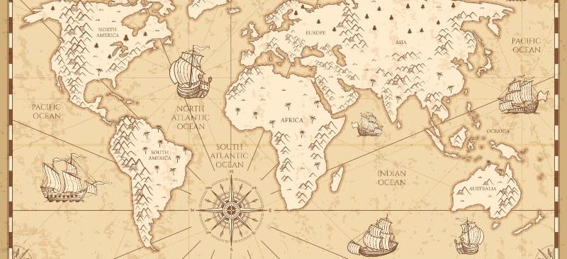 Mapa del mundo antiguo con barcos de vela