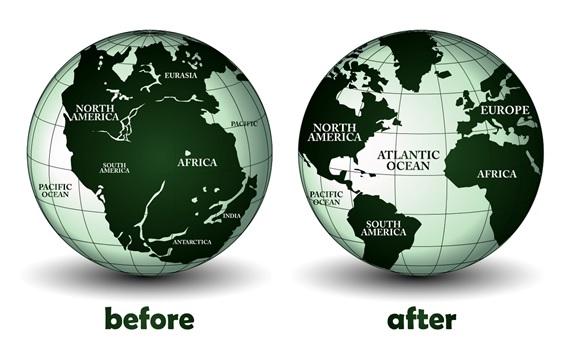 Dos mapas del mundo sobre las placas tectónicas, desde Pangea a la Actualidad