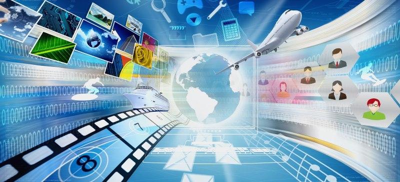 Infografía en la que aparece una bola del mundo y se acercan distintos recursos como fotografías, películas... elementos que se pueden usar en redes sociales