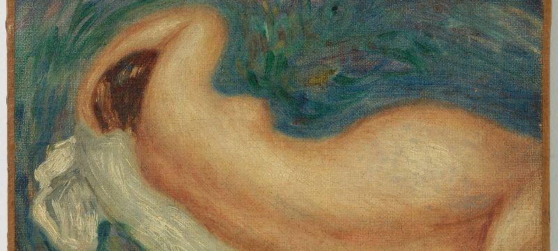 """Feriarte en Madrid, imagen de un cuadro de Renoir """"Mujer Desnuda""""."""
