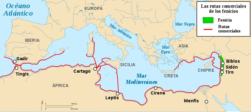 Fenicia y sus rutas comerciales.