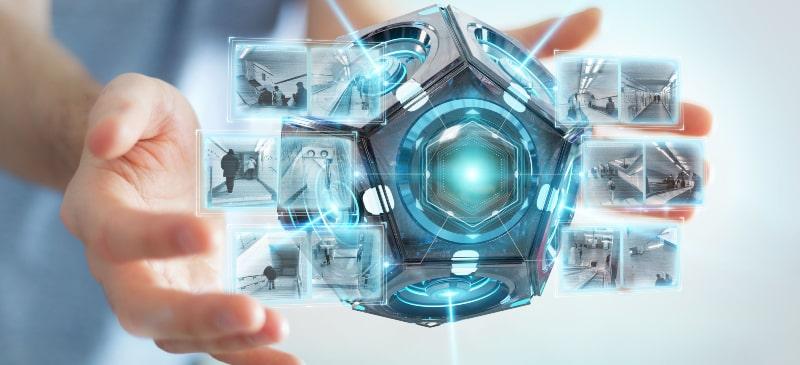 Entre las manos está la tecnología de ciencias de la seguridad