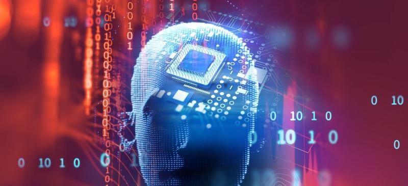 una cabeza digitalizada con un chip incluido en ella. Está digitalizado en azul y tiene un fondo rojo.