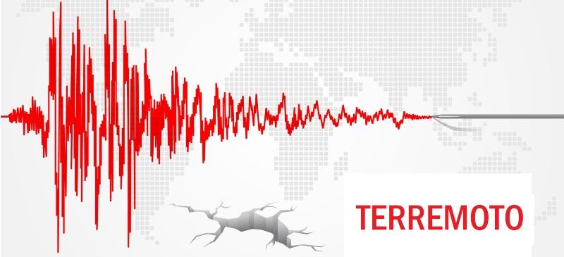 Imagen de un movimiento sismico y la palabra terremoto, con una ilustración del mapa del mundo detrás