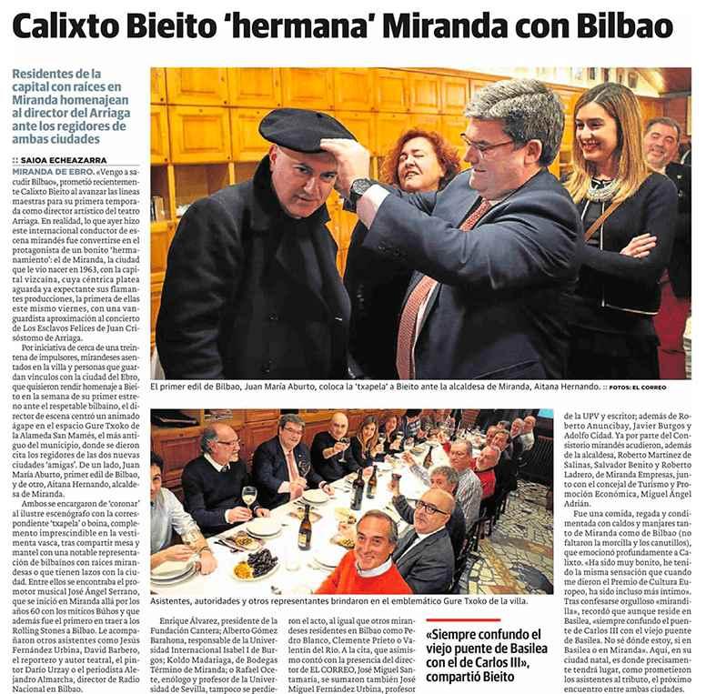 La Universidad Isabel I, con la cultura, en el homenaje a Calixto Bieito en Bilbao