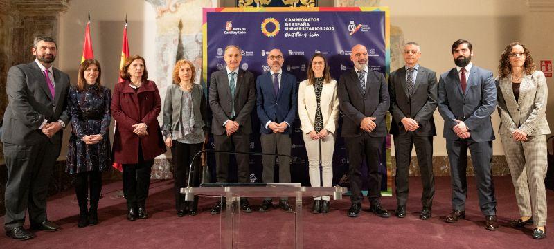 Representantes del Consejo Superior de Deportes, la Junta de Castilla y León y las Universidades organizadoras del CEU2020