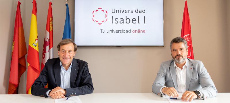 Alberto Gómez Barahona, rector de la Universidad Isabel I, y Jorge Villaverde, presidente de la Asociación de Empresarios de Villalonquéjar