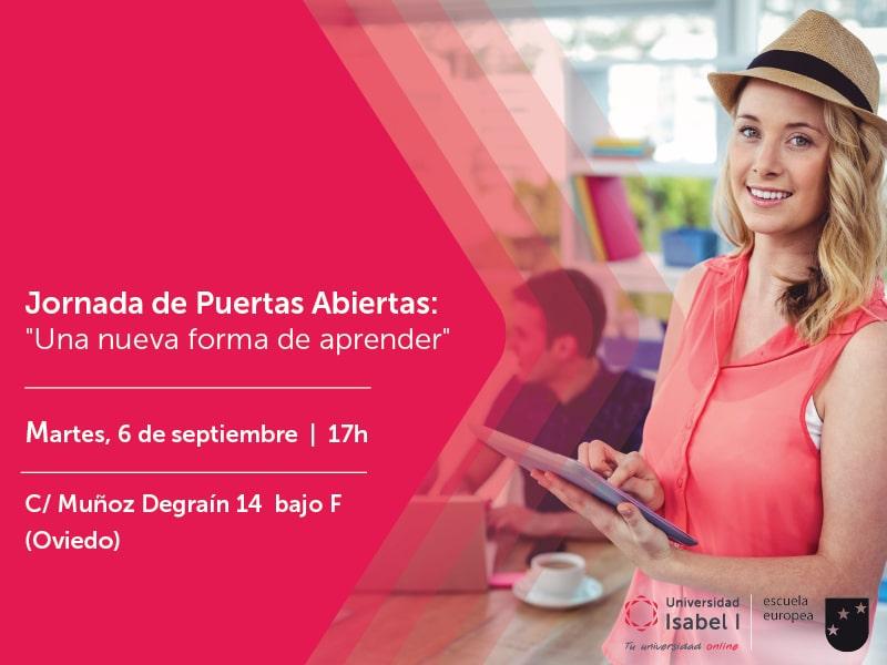 De la mano de Escuela Europea, la Universidad Isabel I llega a Asturias, donde el próximo día 6 de septiembre a las 5 de la tarde tendrá lugar una Jornada de Puertas Abiertas