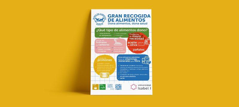 Cartel realizado por la Universidad Isabel I sobre alimentos saludables..