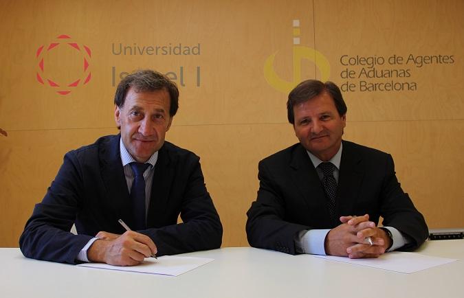 Alberto Gómez Barahona (izquierda), rector de la Universidad Isabel I, y Antonio Llobet, presidente del Colegio de Agentes y Representantes Aduaneros de Barcelona (COACAB)