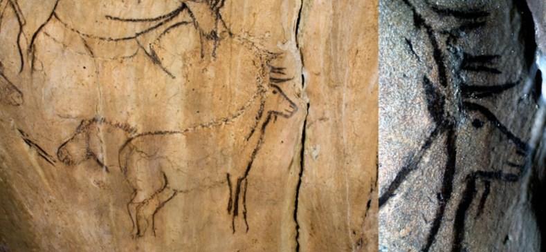 Imagen del ciervo en la Cueva de Niaux, Francia