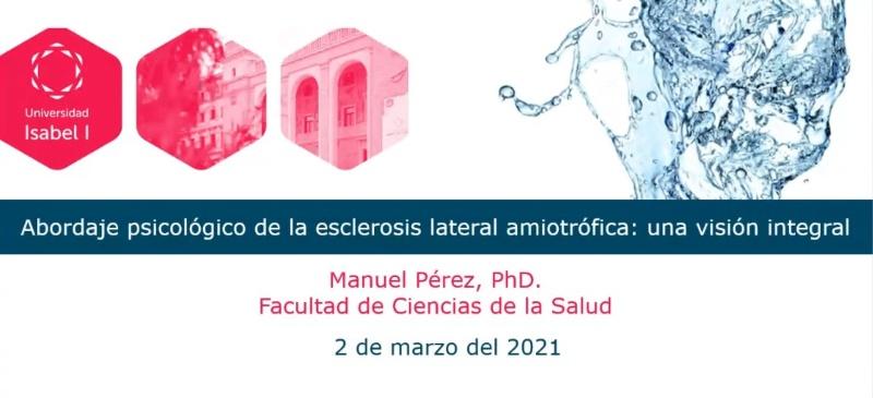 Composición de la presentación del webinar sobre ELA de la Universidad Isabel I