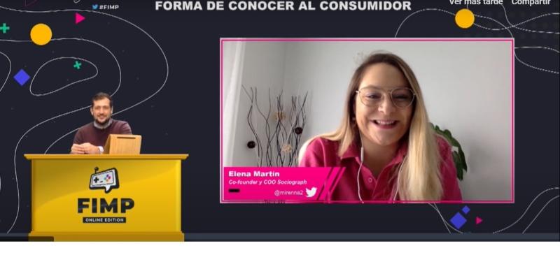 Elena Martín durante su webinar en FIMP 2020.