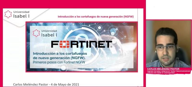 Carlos Meléndez, alumno del Máster en Ciberseguridad de la Universidad, durante el webinar.